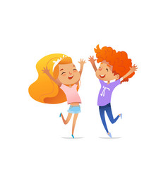 two smiling redhead children cheerfully jump and vector image