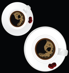 Two white cup of coffee on black background vector