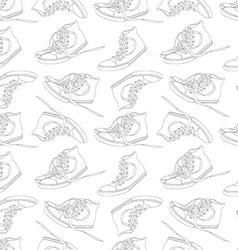 Vintage seamless pattern of sneakers vector image