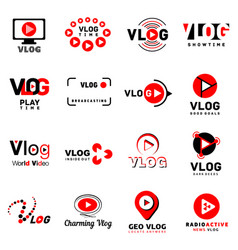 Vlog video channel logo icons set simple style vector