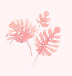 watercolor tropical palm leaf set vector image
