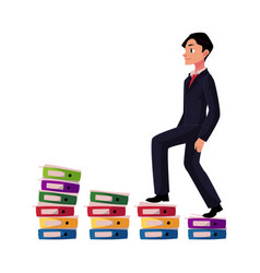 Young businessman climbing piles of documents vector