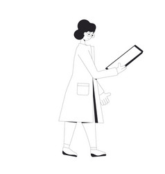 Young scientist female character wearing vector