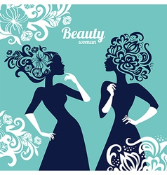 Beautiful women silhouette with flowers vector image