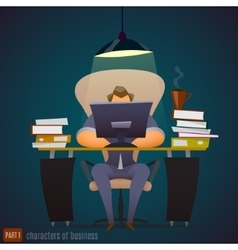 Businessman works hard at an office very late vector