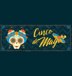 cinco de mayo mexican sugar skull web banner art vector image