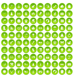 100 children icons set green vector image