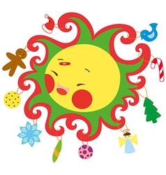 christmas sun vector image vector image