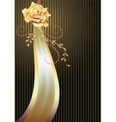 Elegant ribbon and golden rose vector image