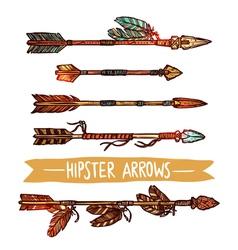 Hipster color sketch arrows set vector