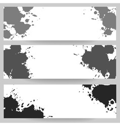 Horizontal banners with grey paint splash vector image
