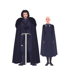 Jon snow and daenerys targaryen dressed in black vector