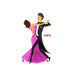 professional dancer couple dancing waltz pair of vector image
