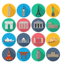 World Landmark Icon Set With Long Shadow vector image vector image