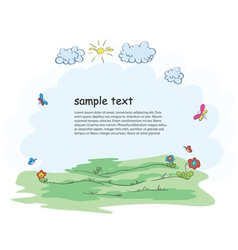 cartoon floral frame vector image vector image