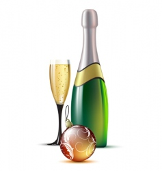 champagne with fir ball vector image