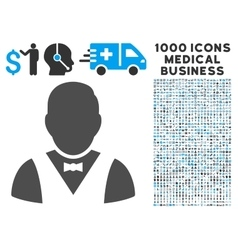 Waiter Icon with 1000 Medical Business Pictograms vector image vector image