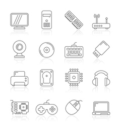 Computer parts and accessories icons vector image