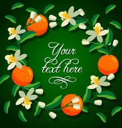 Frame of orange and flowers vector image vector image