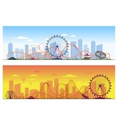 Luna park concept Amusing entertainment amusement vector image