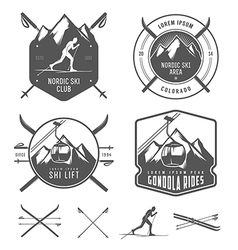 Set of nordic skiing design elements vector image vector image