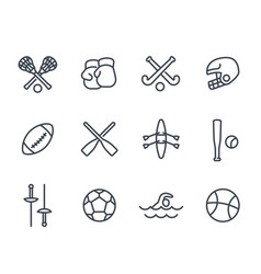 sports and games line icons on white vector image