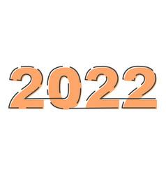 2022 happy new year lettering broken outline lines vector image