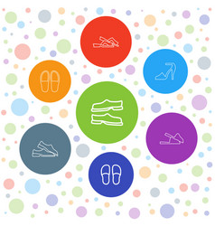 7 sandals icons vector