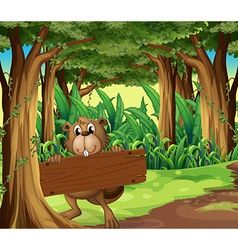 A forest with a beaver holding an empty board vector image