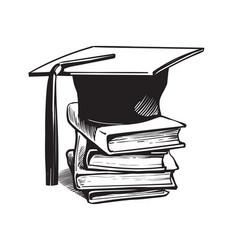 Academic graduation cap on stack books vector