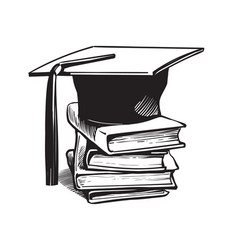 academic graduation cap on stack of books vector image