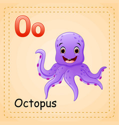 Animals alphabet o is for octopus vector