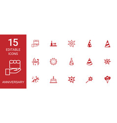 anniversary icons vector image