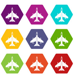armed fighter jet icon set color hexahedron vector image