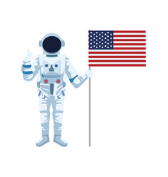 Astronaut standing and holding a flag united vector