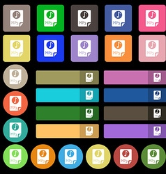 Audio MP3 file icon sign Set from twenty seven vector image