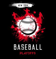 Baseball playoffs poster sport grunge card vector