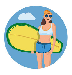 beautiful girl posing with a surfboard in trendy vector image