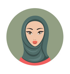 beautiful young happy muslim woman girl portrait vector image