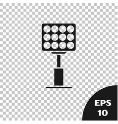 Black bright stadium lights icon isolated on vector