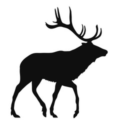 black silhouette a deer on a white background vector image