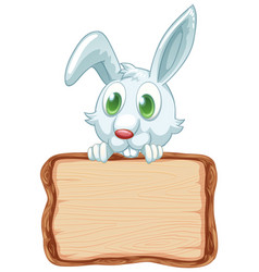 Board template with cute rabbit on white vector