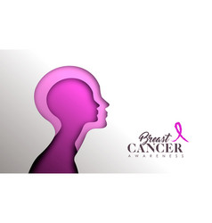 breast cancer awareness paper cut woman face vector image