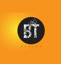 Bt b t logo made of small letters with black vector