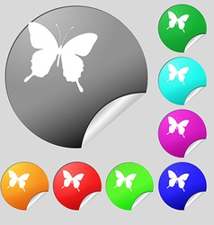 butterfly icon sign Set of eight multi colored vector image