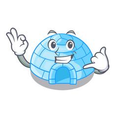 Call me cartoon ice house igloo on snowing day vector