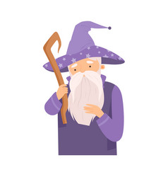 Cartoon kind wizard character from fairy tale vector
