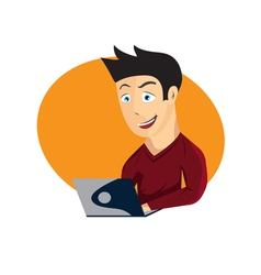 cartoon of young man with laptop vector image