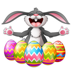 cartoon rabbit laughing with five decorated easter vector image