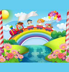 Children riding on train over rainbow vector